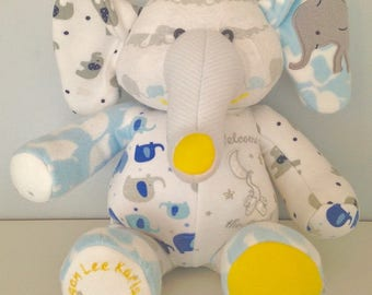 Plush Elephant made out of your favorite clothes or PJ's