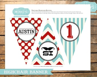 Little Man Mustache Highchair High Chair Banner Bunting
