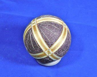 Temari Ball Ornament Bands of Gold on Brown Home Decor Wedding Gift