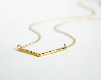 Hammered Chevron Festoon necklace, 24k gold plated over sterling silver charm
