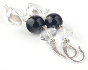 Agate earrings, Quartz earrings, Rock crystal earrings, Black earrings, Long earrings, Silver earrings, Clear stone earrings, Quartz jewelry