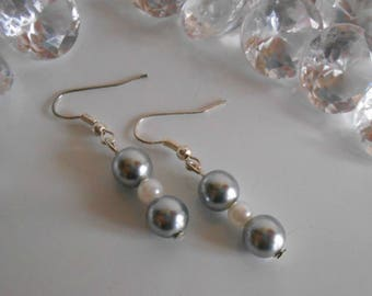 Chic grey and white wedding earrings