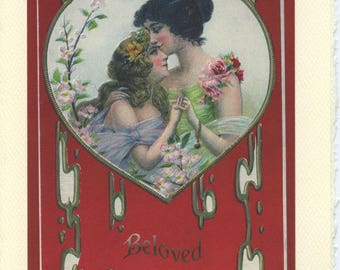 Beloved: Vintage LGBTQ+ Card - Lesbian engagement card, wives anniversary card, girlfriends card, lesbian Valentine, card for lesbian wife