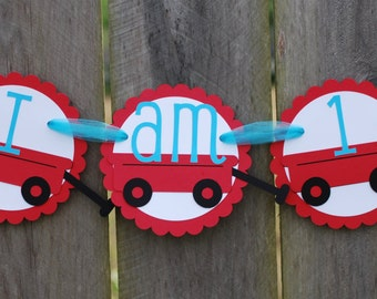 Red Wagon High Chair Birthday Party Banner, Red Wagon Birthday Party, Red Wagon Birthday Banner