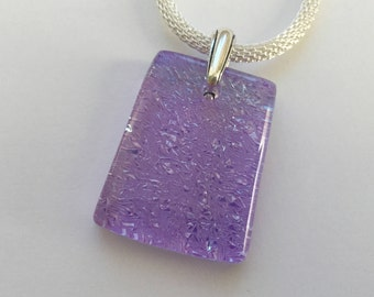 Dichroic Glass Pendant, Fused Glass Jewelry, Lavender Dichroic Necklace