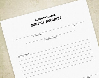 Service Request Printable Form PDF for Business Boss, Request of Services - Editable Custom Template, Digital File, Instant Download