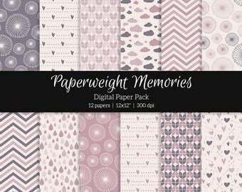 "Digital patterned paper - Rose Dreams -  digital scrapbooking - scrapbook paper - 12x12"" 300dpi  - Commercial Use"