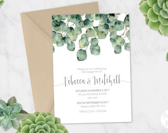 Printable Engagement Party Invitation | Australian | DIY Printable | Watercolour Watercolor | Leaves Greenery green eucalyptus