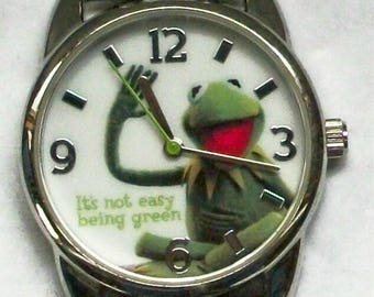 New! Kermit the Frog Watch! It's not Easy being Green! Cute! Retired! Out of Production! Frog Green stitching On Band!