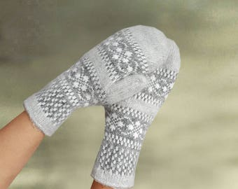 Merino wool mittens, Knit wool mittens, Warm winter mittens, Womens wool mitts, Wool arm warmer, Womens warm gloves, Knitted warm gloves