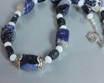 Blue and White Sodalite Necklace - Blueberries and Cream - Nautical - Patriotic