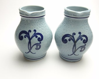 Lovely Set of Two Small Vintage Wine Pitchers – Delaunay – France