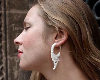 Bone Fake Gauges Earrings Bone Flower Circle Drops Tribal Earrings - FG004 B