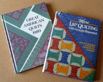 TWO Vintage Quilt Books More Lap Quilting Bonesteel 1985 Great American Quilts 1989 Patterns Instructions Quilt Making Hardcover Dust Jacket