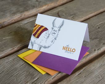 Hello there Llama Card, letterpress printed hand drawn llama eco friendly