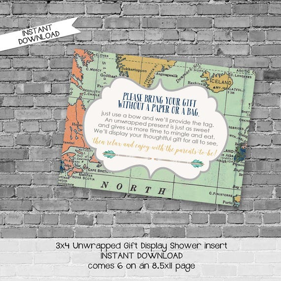 display shower insert | unwrapped gift enclosure card | World map baby shower | oh the places you'll go | Adventure Awaits | 1466 Katiedid