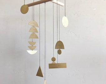 "Geometric Brass Mobile - ""quincy"" - made-to-order"