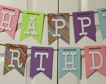 Colorful Glitter Stripped Happy Birthday Banner, High Chair Banner, One Banner