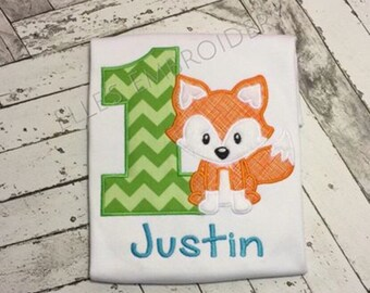 Fox birthday shirt/ Fox first birthday shirt/ Personalized fox shirt