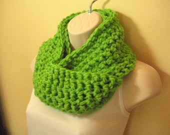 Bright Green Cowl Infinity Circle Scarf Neckwarmer