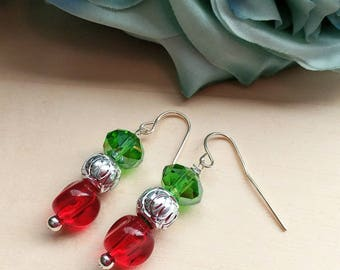 Christmas Cheer Glass Beaded Earrings