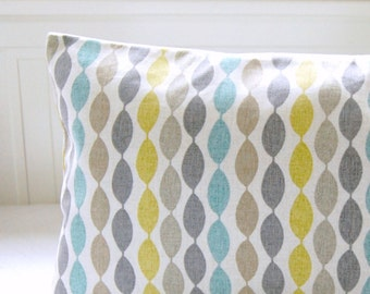 14 / 16 / 18  inch blue retro decorative pillow cover grey yellow lime cushion cover