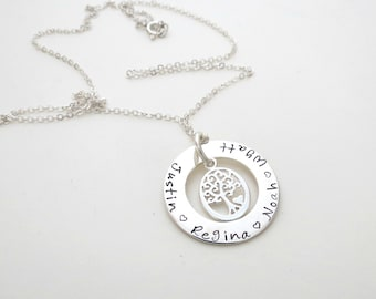 Personalized Family Tree Necklace - Personalized Jewelry - Kids Names - Mothers Necklace - Grandma - Grandkids - Son - Daughter - Custom