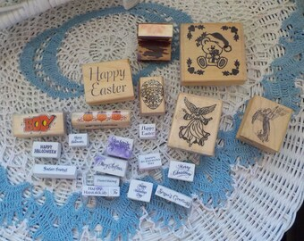 21 Group of Holiday Stamps, Scrapbooking, Rubber Stamps, Easter, Art Projects, Ink Stamps, Halloween, Saint Patricks and Christmas :)s*