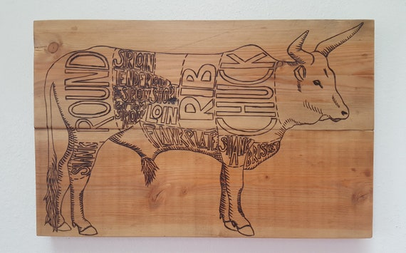 Cow kitchen decor cuts of beef butcher chart cow diagram like this item ccuart Gallery
