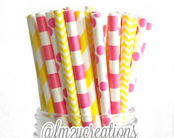 Pink and Yellow Paper Straws, 50 PINK Striped Paper Straws, Drinking Straws, Cake Pops, Pink Weddings, Pink Baby Shower, Pink Lemonade Party