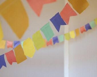 10 metres Pastel Rainbow fabric scrap bunting