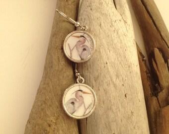 Handmade Great Blue Heron dangle earrings with watercolor art print