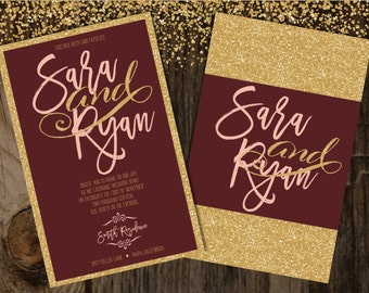 Blush and Burgundy Wedding Invitation, Blush and Gold Wedding Invitation, Gold Wedding Invitation, Gold Glitter Wedding Invitation