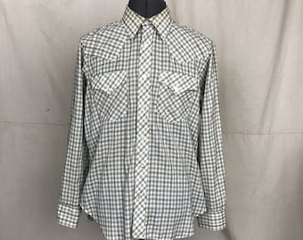 Vintage Lew Magram Shirt Blue Plaid Men's Button Down Long Sleeve Western