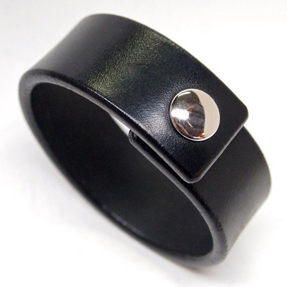 Black Leather wristband American bridle leather cuff 1 inch wide thin and sexy Made for You In USA by Freddie Matara