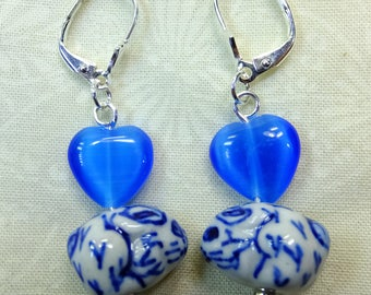 Chinese Hand painted Blue and White Ceramic Bunnies with Blue Catseye Heart Beads Dangle Earrings