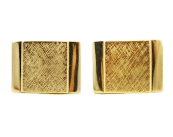 Vintage Gold Cuff Links, Large Gold Cuff Links, Gold Square Cuff Links