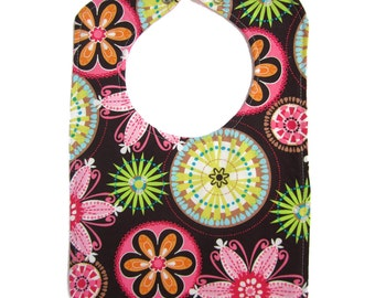 Baby Bibs - Reversible Bib - Carnival Bloom Reversible Bib with snap closure - Cute Baby Bib - Baby Shower Gift - Newborn baby gift