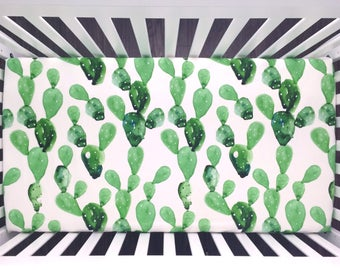 Cactus crib sheet. Fitted sheet Cactus watercolor green prickly pear. Organic crib sheet. Gender neutral (#0136)