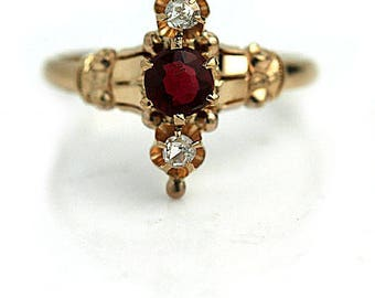 Vintage Garnet Ring .40ctw Victorian 14k Rose Gold Rose Cut Engagement Ring