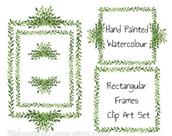 Watercolor clipart frames Clip art laurel wreath frames branches leaves Square Set PNG Digital frames woodland theme