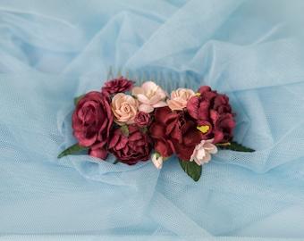 Fall Burgundy flower Hair comb, Deep red Bridal hair comb, burgundy hair comb, deep red flower comb, Floral Wedding comb, burgundy headpiece