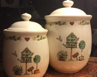 Thomson Pottery birdhouse kitchen canisters