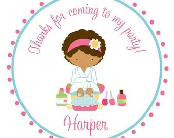 Spa Birthday Party Sticker -- personalized birthday sticker --  favor tag, address label, custom sticker, personalized stickers