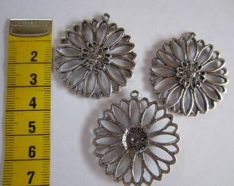 3 Silver Flower pendant 3d connector or Pendant