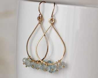 Tear Drop Earrings with Blue Aquamarine and 14k Gold Filled March Birthstone Gemstone Cluster - Priscilla