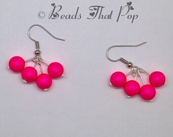 Pink Swarovski Precoscia Earrings, Hot Pink Dangle Earrings, Handmade, Great gift for all ages and occasions!