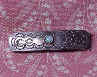 Vintage Native American Unmarked Sterling and Turquoise Hair Barrette