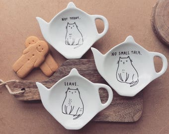 Antisocial Cat Tea Bag Rest / Spoon Rest - Hand painted funny teapot hipster dark quirky cute vegan christmas cup cartoon comic illustration