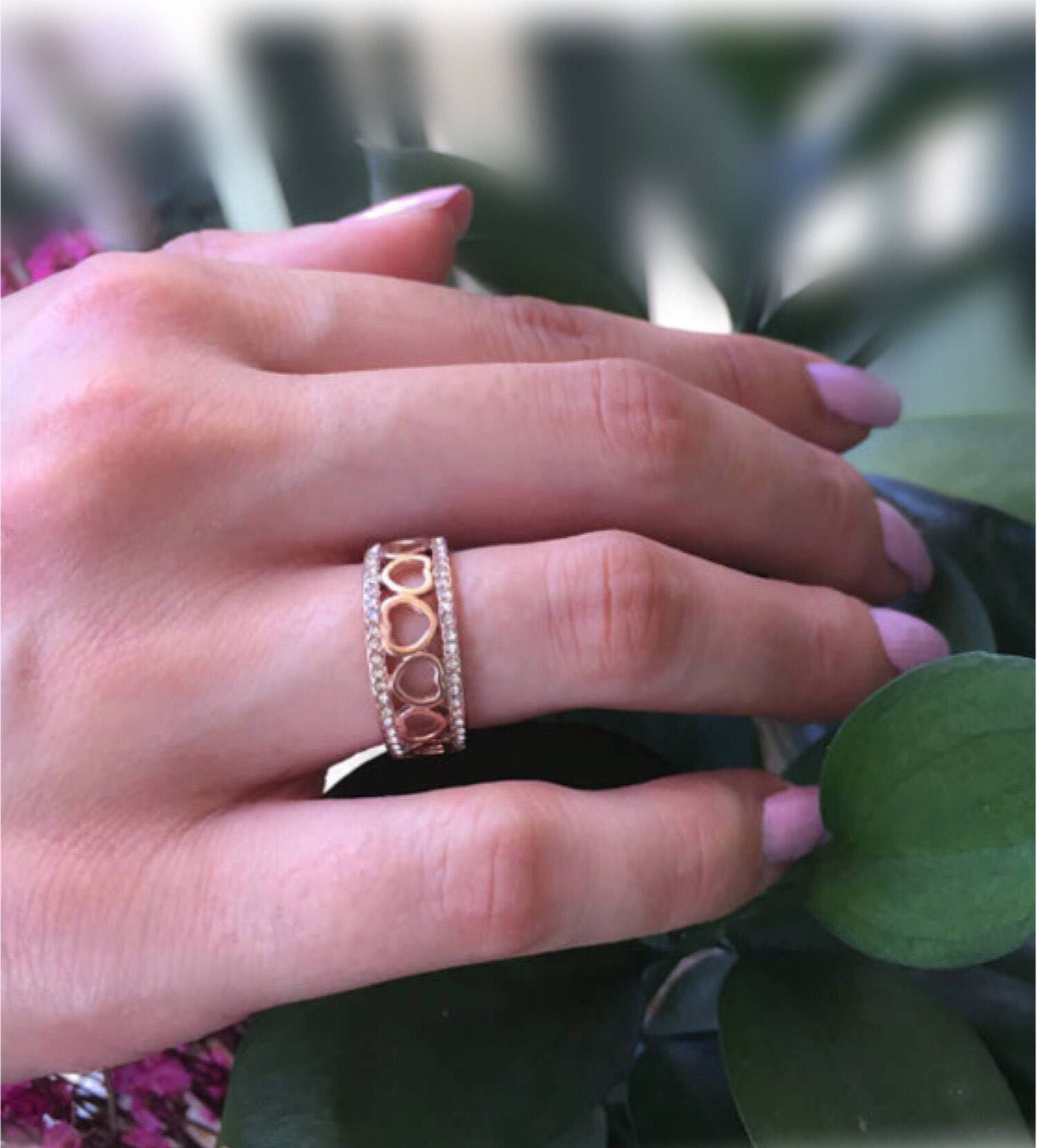 Rose Gold CZ Heart Band-Eternity Band-Promise Ring-Wedding